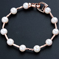 Fashion 2017 Good Quality Near Round White 100% Natural Freshwater Pearl Women Bracelet Elegant Rose Gold Plated Jewelry