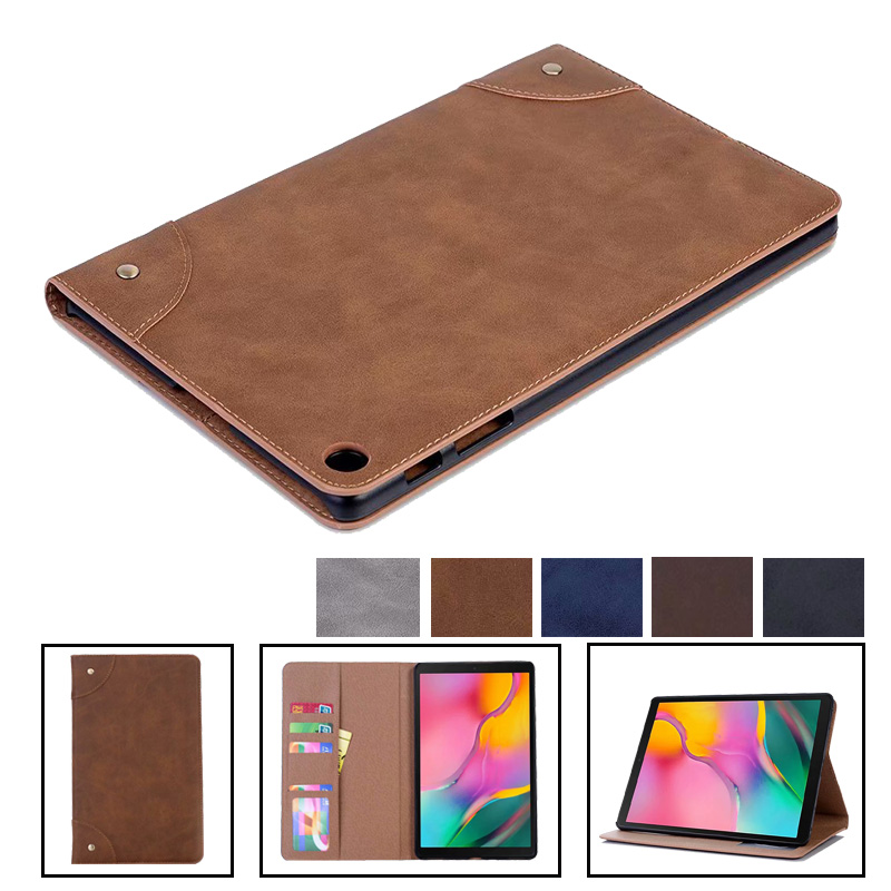 Tab A 10.1 Inch 2019 <font><b>SM</b></font> <font><b>T510</b></font> T515 Luxury Retro Pu Leather <font><b>Case</b></font> Cover For Samsung Galaxy Tab A 10.1 2019 Tablet Smart Stand <font><b>Case</b></font> image