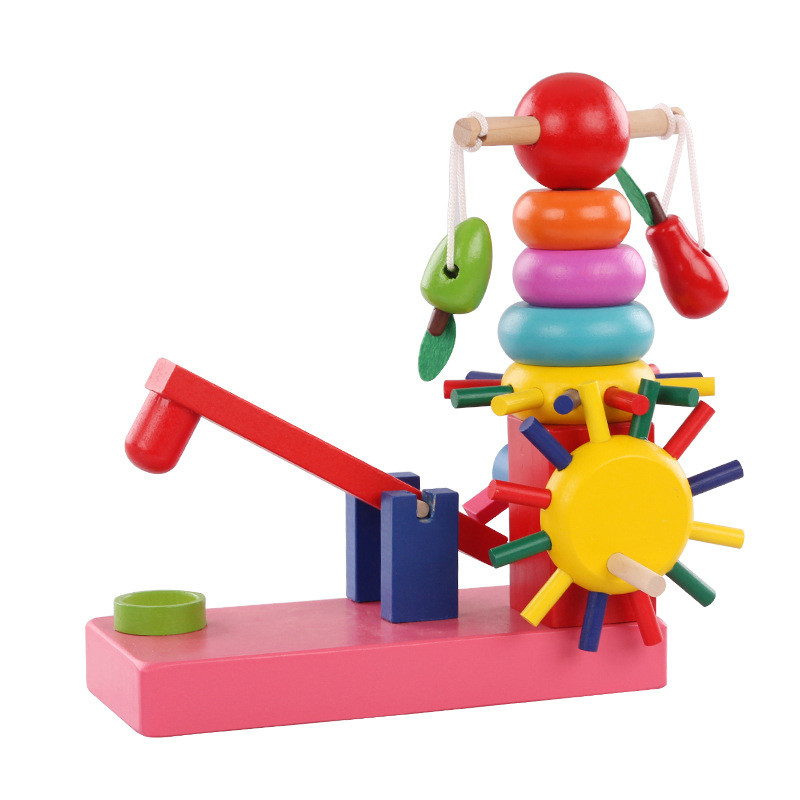 New Wooden Baby Colorful Educational early childhood building blocks assembled piles Rainbow Tower Baby Gifts baby intelligence wooden acrylic paint rainbow tower toy multicolored