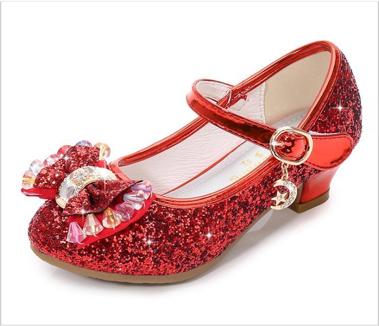 Prinzessin Kinder Leder Schuhe Für Mädchen Blume Casual Glitter Kinder Hohe Ferse Mädchen Schuhe Schmetterling Knoten Blau Rosa Silber