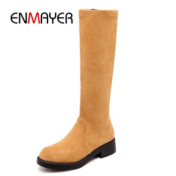 ENMAYER Round toe women knee high flat with boots women boots women shoes boots Big size 34-39 ZYL939