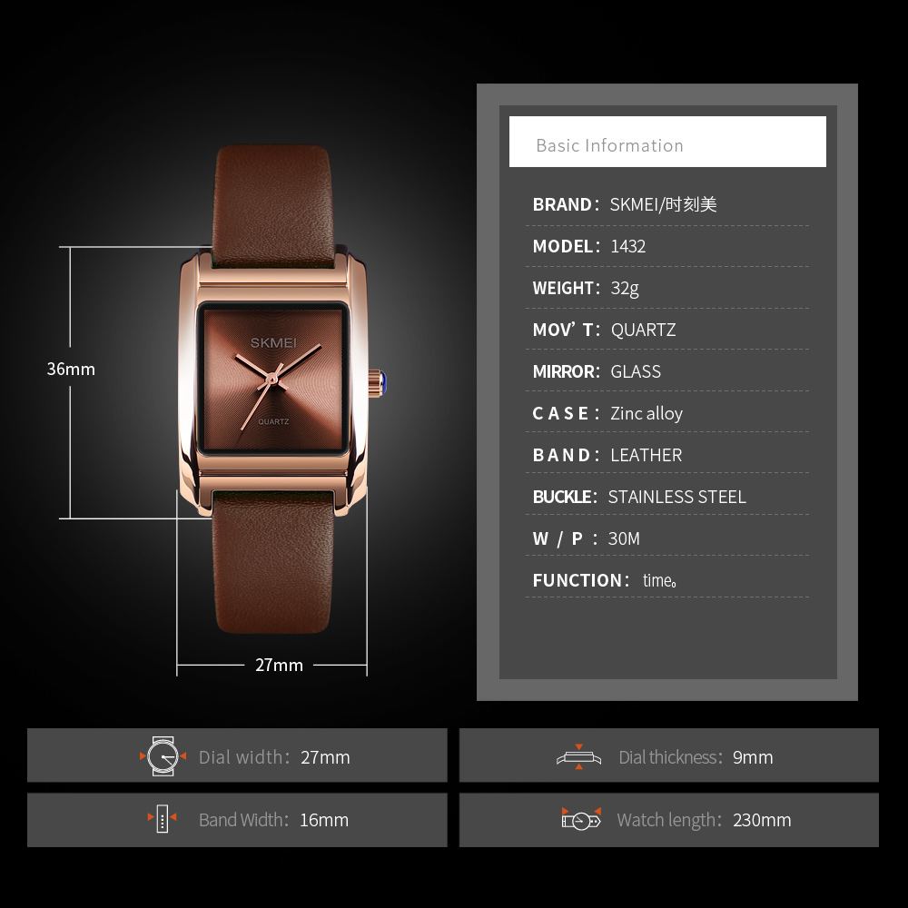 Image 5 - SKMEI Women Watches Leather Ladies Watch Quartz Top Brand Luxury Fashion Waterproof Clock Female Watch Women Relogio FemininoWomens Watches   -