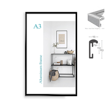 Classic super narrow aluminum A4 A3 poster frame  for wall hanging/metal photo frame/certificate frame