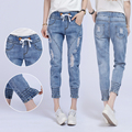 2016 Summer Women Elastic Jeans Woman Loose Harem Jeans Women Harem Pants Plus Size Jeans For Women high quality