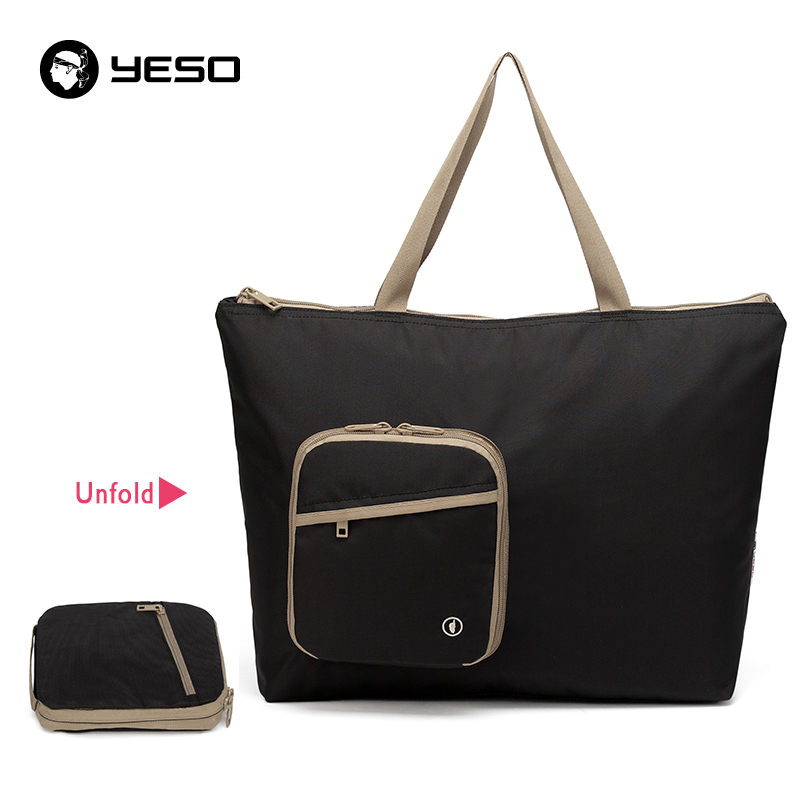 YESO Large Capacity Folding Handbags Women Tote Bags Waterproof Nylon Beach Bag Reusable Casual Foldable Ledies Top-Handle Bags