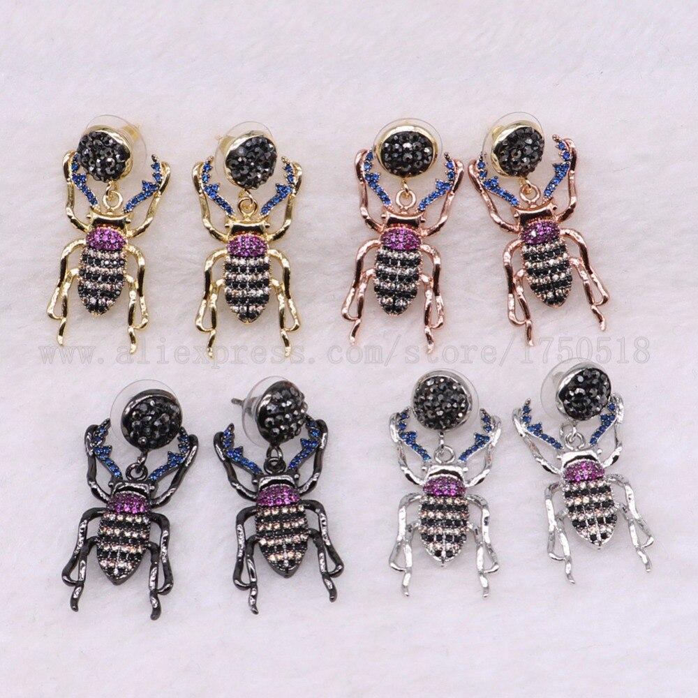 3 пары ошибок Серьги насекомых Fly Би Серьги с заклепками подарок для леди насекомых Серьги красочные украшения Серьги 3042