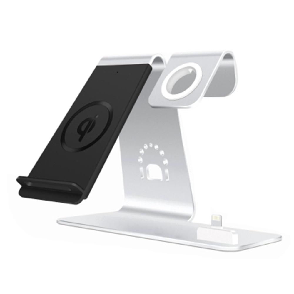 3in1 Supporto In lega di Alluminio Per Apple Watch/Airpods Stand Stazione di Ricarica Qi Wireless Fast Charger per iPhone X/ 8 Samsung S8 Nuovo