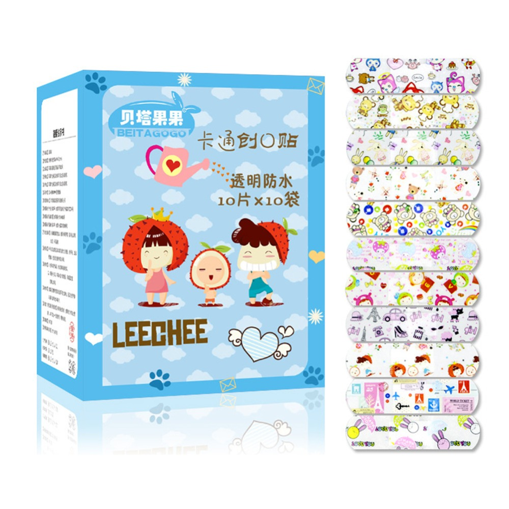 100PCS Waterproof Breathable Transparent PE Cute Lovely Cartoon Band Aids Adhesive Bandages First Aid Stickers For Children Kids