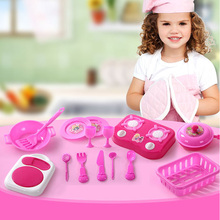 15pcs/set Pink Kitchen Food Cooking Role Play Pretend Toy Girls Baby Child,baby kid plastic kitchen toys play kitchen Xmas Gift
