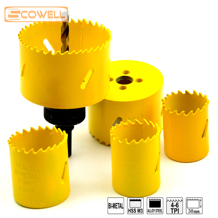30% Off 6PCS 32mm-73mm HSS Bi-metal Hole Saw Sets Professional Crown Saw Blades With Arbor Drill Bits Kits For Hole Cutting