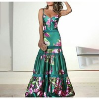 Plus Size 2019 Summer Vinatge Flower Print Sleeveless Dress Elegant Floor Length High Waist Party Dress Sexy Print Maxi Dresses