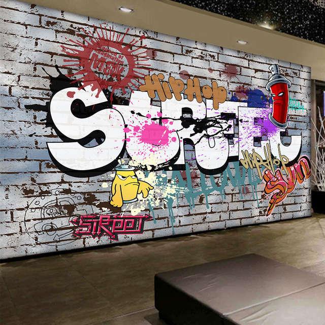 Online Shop Custom Mural 3d Personality Style Graffiti Mural Coffee
