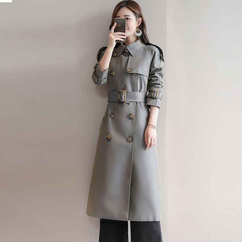 Women Long   Trench   Coat Fashion Double Breasted Casual Overcoats 2018 Autumn Loose Windproof Outwear   Trench   Coats FP1180