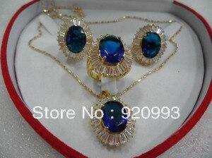Charitable Women's Cospay Women's Hair Full Wigs P&p*******beautiful Jewellery Blue Zircon Gem Earring Necklace Set Silver-jewelry 2019 Official
