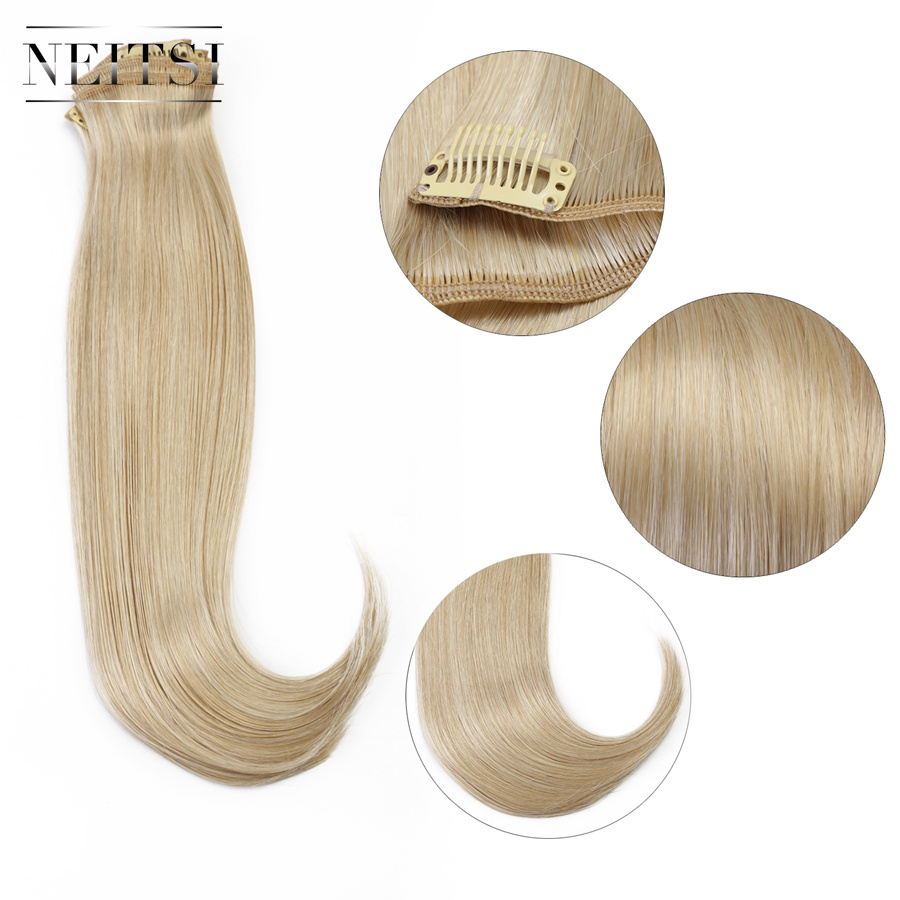 Neitsi 14 3pcs/set 75g Clip In On Synthetic Hair Extensions Straight Hairpieces Light Blonde 1000c# Outstanding Features Styling Products