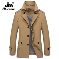 2017 Mjnong Brand Windbreaker Jacket Men Solid Cotton Pockets Fashion Single Breasted Male Jacket Coat