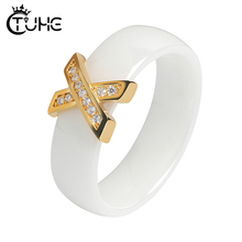 Trendy Gold X Cross Rings Rhinestone CZ Crystal 6mm Width Women Healthy Ceramic for Wedding Jewelry Gift Never Fade