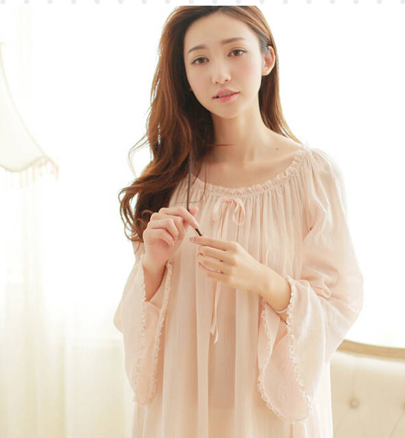 placeholder Free Shipping Classical Aesthetic Princess 100% Cotton Vintage  Royal Nightgown Long Pijamas Naked Pink Sleepwear 87ae477d5