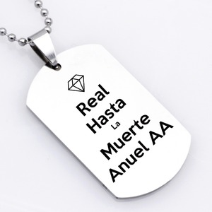 Dog Tags Spanish Real Hasta La Muerte Anuel AA Stainless Steel Necklace Keychain YP4134(China)