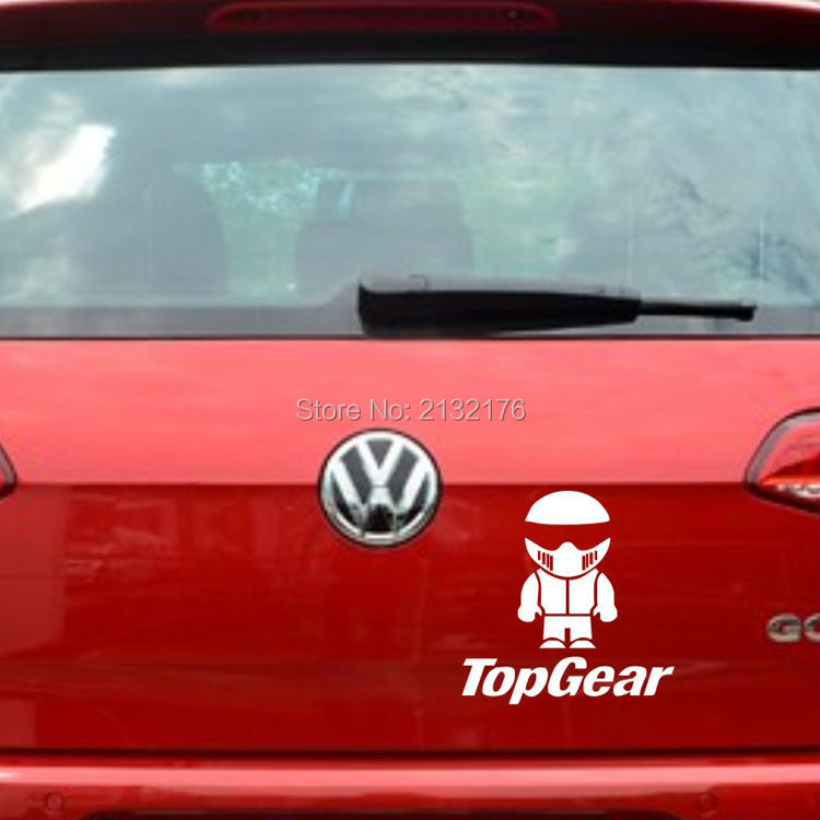 Car Styling Racing Driver The Stig TopGear Car Sticker Decorative Outdoor Top Gear Sticker Decals for vw mazda etc 6 white