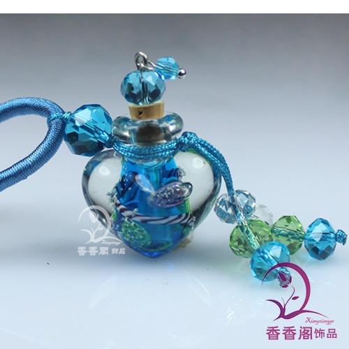 2 шт Духи из муранского стекла ожерелье s, ароматические флаконы, стеклянные подвески для духов, парфюмерное ожерелье флакон - Окраска металла: Light Blue