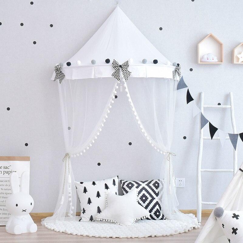 Noir blanc étoiles Enfants de tente intérieure Nordique ins fille princesse demi lune lit draperies enfants lecture coin