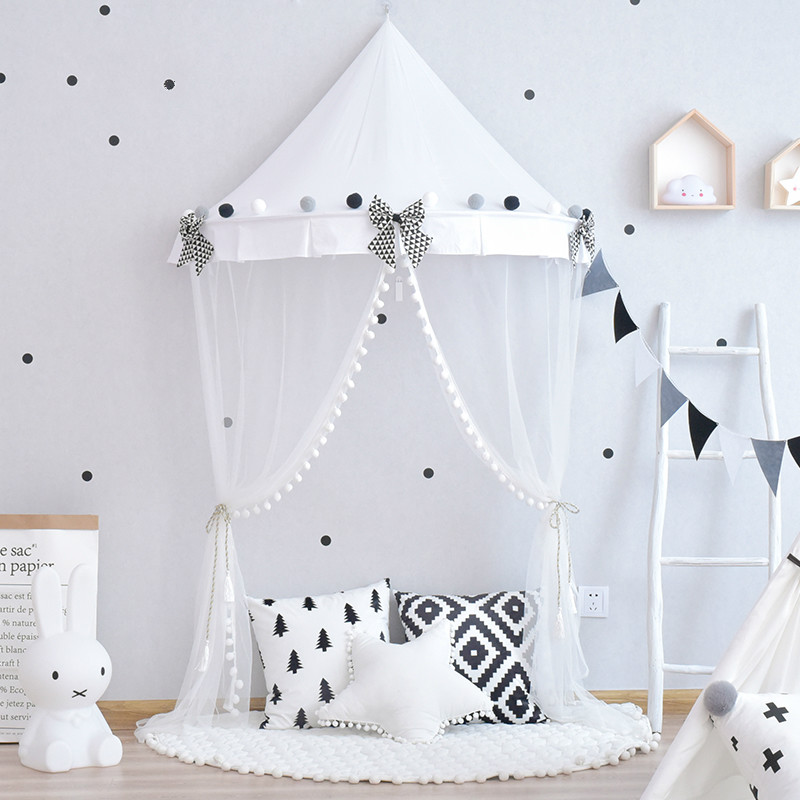 detailed look 24929 bdabf US $45.68  black white star Children's tent indoor Nordic ins girl princess  half moon bed draperies children reading corner-in Toy Tents from Toys & ...