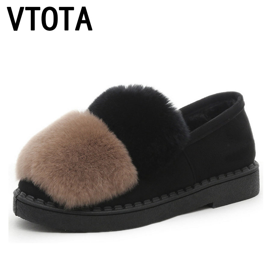 VTOTA Winter Shoes Woman Fashion Fur Platform Zapatos Mujer Womens Shoes Flats Casual Slip On Shoes For Women Warm Shoes E26 vtota women shoes flats lace hollow summer platform shoes fashion flat shoes women loafers zapatos mujer casual shoes a85