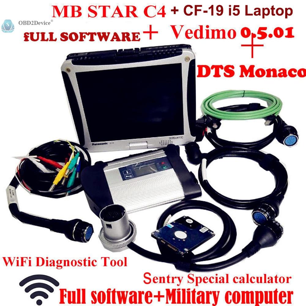 Di alta Qualità Mb Star SD C4 con 2018-09 Software Vediamo + DTS MB Star Diagnosi Multiplexer con Panasonic CF19 Notebook i5 CPU