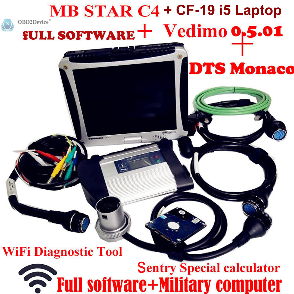 Di alta Qualità Mb Star SD C4 con 2018-09 Software Vediamo + DTS MB Star Diagnosi Multiplexer con Panasonic CF19 Notebook i5 CPU