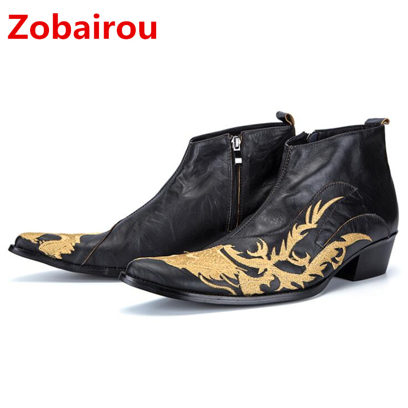 Zobairou military tactical boots genuine leather black mens high heels rubber rain boots botines hombre chelsea shoes men