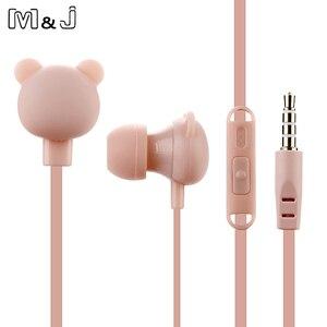 Image 3 - M & j fone de ouvido estúdio de desenhos animados, colorido, bonito, com microfone, controle remoto, urso, fone de ouvido para iphone, samsung, huawei, xiaomi, aniversário presente