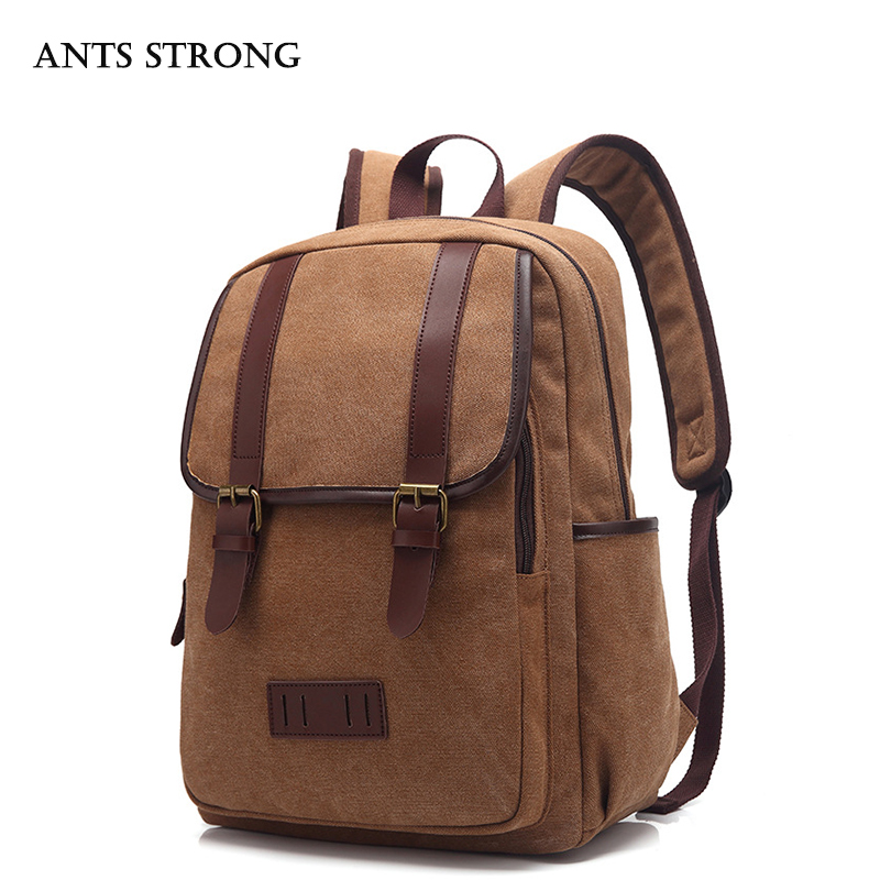 ANTS STRONG New retro canvas backpack / large capacity fashion men and women shoulder bag leisure school bag japanese and korean fashion vintage canvas shoulder bag messenger bag large capacity bag men and women 8582