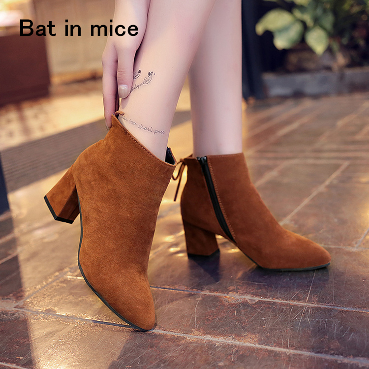 Sexy fashion Ankle winter women Boots Comfortable Boots zipper High Heels Women Boots shoes women pumps plus Size 34-45 A088