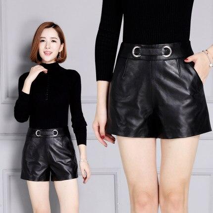 2019 New Sheepskin High Waist Slim Leather Shorts KS41