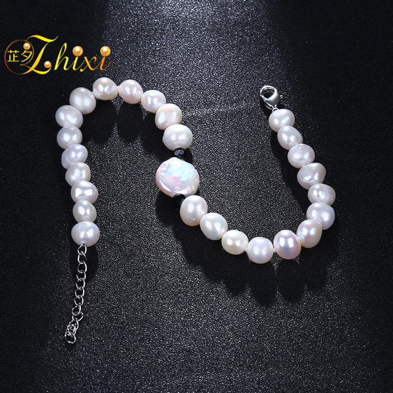 [ZHIXI]Baroque Pearl Anklets Jewelry For Women Fine Jewelry Real Freshwater Pearl Foot Chain 8-9mm Trendy Gift For Party[F208]