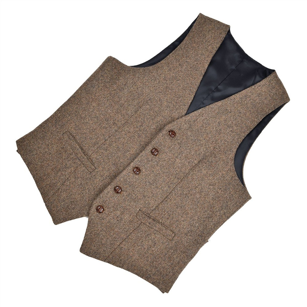 Voboom Waistcoat Men Suit Vest Plaid Male Large Window Yellow Herringbone Wool Blend Tweed Single-breasted Vests 007 Suits & Blazers Men's Clothing
