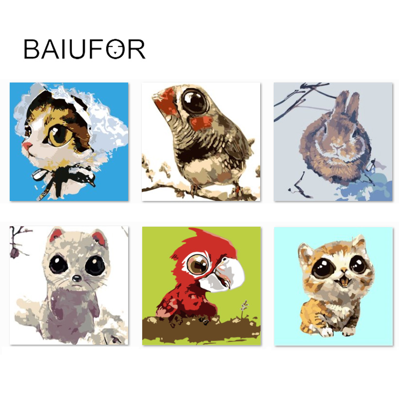BAIUFOR DIY Oil Painting By Numbers Hand Painted Painting Children Room  Decoration Animal Patterns Dog