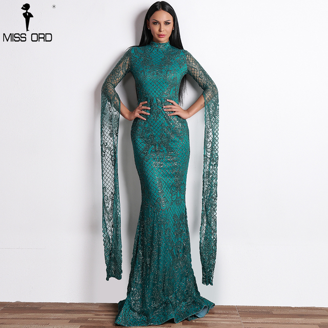 Missord 2019 Women Sexy  High Neck Long Sleeve Split Glitter Dress Female Maxi Elegant Party Dress FT9283 1
