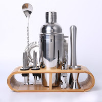 Bartending Kit Cocktail Shaker Set kit Bartender Kit shakers Stainless Steel 12 Piece Bar Tool Set with Stylish Bamboo Stand