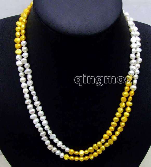 "Fashion Long 40"" Natural White and Yellow 6-7mm Baroque freshwater pearl necklace-nec6109 wholesale/retail Free shipping"