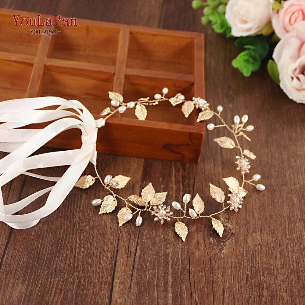 YouLaPan Golden leaf Wedding Headband Bridal Tiara Bride Hair Jewelry Wedding Hair Jewelry Hairband with Alloy Leaves <font><b>HP110</b></font> image