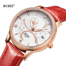 Reloj mujer burei брендовые роскошные женские часы модные водонепроницаемые