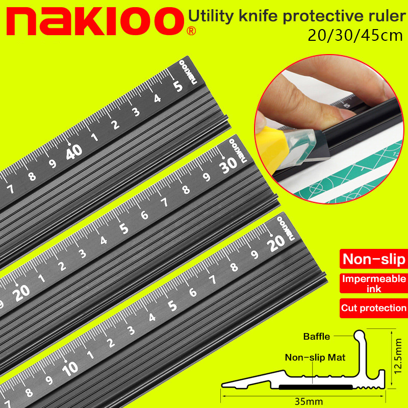 Advanced Aluminum Alloy Ruler, Multifunctional Student Cutting Protection Art Anti Slip Drawing Tool