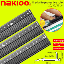 Купить с кэшбэком Advanced aluminum alloy ruler, multifunctional student cutting protection art anti slip drawing tool