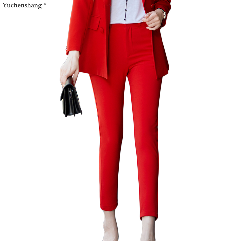 New Casual Ankle-Length Pants For Women High Quality Straight Trousers Mid Waist Slim Trousers Red Blue Black Pink