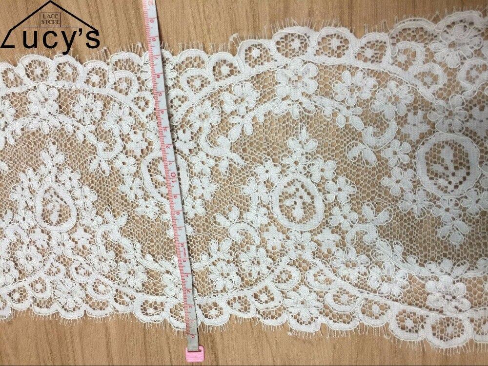 18CMx150CM/piece Light ivory eyelash jacquard lace trim double edging scallop lace trims sewing for wedding veils NEW