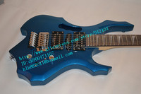 free shipping wholesale and retail new fire electric guitar with double wave in blue+foam box F 1147