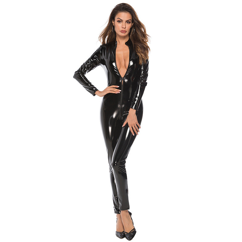 <font><b>Sexy</b></font> <font><b>PVC</b></font> Latex <font><b>Catsuit</b></font> Long Sleeve PU Leather Bodysuit Back Zipper <font><b>Women</b></font> <font><b>Sexy</b></font> Lingerie Hot Pole Dance Club Costumes image