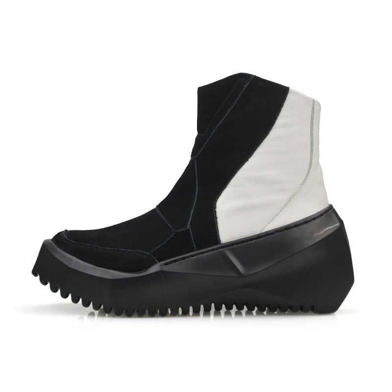 e028ab7e ... Estilo coreano de invierno nueva marca de moda de calidad superior de  cuero genuino botas de ...